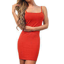 YJSFG HOUSE Sexy Women Sleeveless Spaghetti Strap Party Club Dresses Summer Ladies Slim Bodycon Backless Pencil Dress Black Red