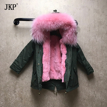 Winter children fur parka raccoon fur collar kids rex rabbit mink fur lining warm thick boys girls hooded coat outwear jacket