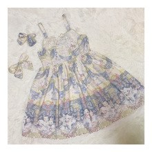 Japan style high end design cute cartoon rabbit print dream ribbon bow sweet girl lolita dress silk one piece pearl button(China)