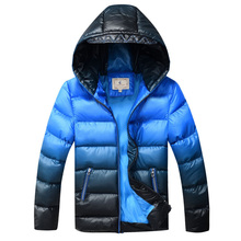 Kids Winter Jacket for Boys Down Jackets Coats Warm Thick Cotton Wadded Jacket Gradient Color Big Boys Parka Jacket DQ168(China)