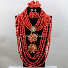 Elegant Pink Women Costume Bridal Jewelry Set Coral Nigerian Wedding Necklace Set Fashion African Beads Free Shipping CJ673