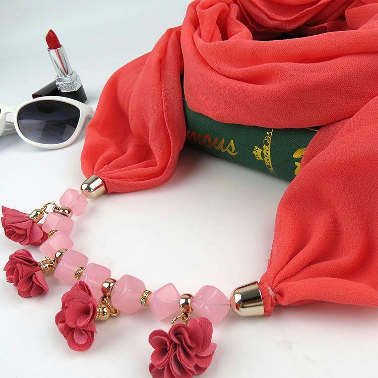KMVEXO 2018 Autumn Winter New Geometric Beads Necklaces Flowers Pattern Wrap Statement Scarf Necklace For Women Bohemian Jewelry 8