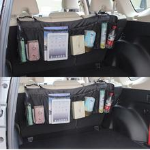 Durable Car Organizer Back Rear Trunk Seat Elastic Tidy Organizer Multi-Pocket Cage Carrying Storage Bag Travel Storage Hanging