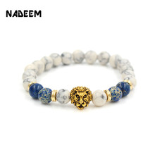 Drop Shipping 8mm Lab White Howlite Stone Bead Bracelet Antique Gold Color Lion Head Charm Yoga Bracelet High Grade Mens Jewelry(China)