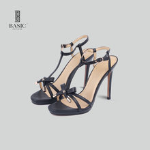 Basic Editions Brand High Heel Sandal Shoes Genuine Leather Bowknot Shoes Woman Women Pumps High Heels Plus Size B1365-71(China)
