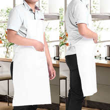 New White Universal Bib Apron with Pockets Kitchen Restaurant Cooking Apron Half/Whole Body For Chef Waiter Kitchen Cook(China)