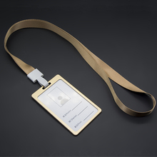 1pcs Gold Color ID Name Card Case Aluminum Alloy Business Card Badge Holder with Neck Lanyard Strap Company Office Supplies