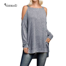 New 2017 Autumn Brief Style Women Clubwear Tops Gray Asymmetric Cold Shoulder Side Split Long SleeveT-Shirt LC25969 Hot Sell