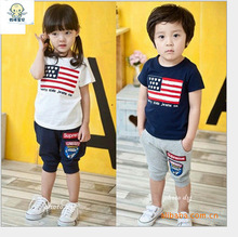 Summer children baby boy girl clothing USA flag 4th of july t shirt short 2 pics suit for kids  fashion toddler outfits conjunto