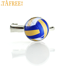 TAFREE Leisure women hair accessory Beach Volleyball hairgrips charm volleyball picture glass dome hair pin ball fans gift T255(China)