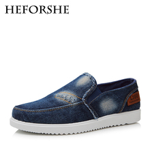 HEFORSHE Men Denim Cloth Shoes 2017 Men's Fashion Solid Breathable Slip-on Loafers Male Casual Canvas Shoes Size 39-44 MXR108(China)