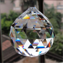 50/60/70/80mm Crystal Hanging Balls Cut Faceted Glass Prism Chandelier Pendants Beads Curtain Hanging Ornament Home Decor DIY(China)