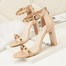 Buy 2018 Summer Fashion Woman Fetish Block High Heels Female Rivets Leather Sandals Thick Nude Square Heels Pumps Lady Sexy Shoes