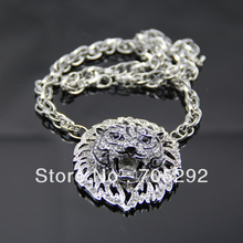 Vintage Retro Silver Plated Chain Jewelry Lion Head Adorned Bib Pendant Necklace