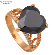Heart Black Onyx Gold Tone Fashion Jewelry Plating Crystal Rings for women USA Size #8 #7.5 #7 #6.5 JR1900(China)