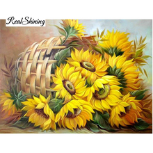 5d Diy Diamond Painting Cross Stitch Diamond Embroidery Crystal Sunflower Diamond Mosaic Pictures Needlework RS500(China)