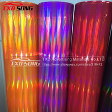 Free shipping Holographic Chrome rainbow vinyl film for car body decoration with air free bubbles Car sticker size:1.4*20M/Roll