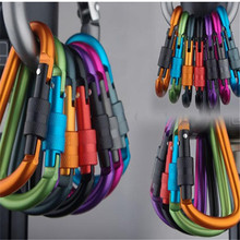 6PcsOutdoor multi colors Safety Buckle With Lock Aluminium Alloy Climbing Button Carabiner Camping Hiking D-shaped Hook Ring
