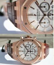 discount men Men's CHRONOGRAPH 18K PINK GOLD SILVER LEATHER Japanese quartz Chronograph sports watch