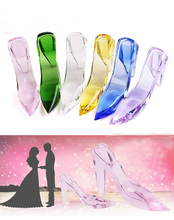 13*3*7cm Beautiful k9 Crystal Valentine's Day gift Cinderella Fairy Tale glass Shoes Wedding Decoration best souvenir DIY - Andy's Rainbow Store store