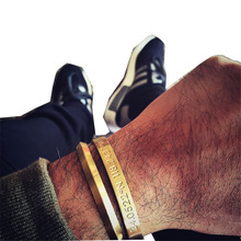 Simple Fashion Stainless Steel Gold-Color Bracelet Men Titanium Steel Triangle Cuff Bangles Love Bracelet Manchette pulseiras(China)