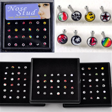 24pcs Goth Punk Clip On Piercing Body Nose Lip Rings Mixed Face Color Nose Studs Body Jewelry Wholesale