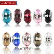 free shipping 1pc european Section 96 crystal glass big hole Bead only with 925 logo Fits European Pandora Charm Bracelets A190
