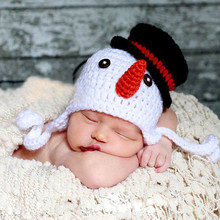 Newborn Baby Girls Boys Crochet Knit Beanies Photo Photography Prop Winter Warm Snowman Pattern Cartoon Beanie Cap Ski Hat  HT85