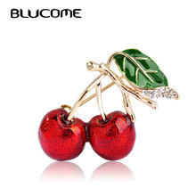 Blucome Red Enamel Brooches For Women Kids Cherry Brooch Corsage Small Bouquet Hijab Pins Feminino Party Bag Dress Accessories(China)