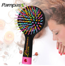 1pc rainbow tangle brush for brazilian indian keratin hair extension wig styling tools pinceis magic comb Free shipping(China)