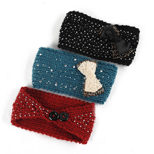 Yyun 1pc Winter Knit Head Wear Ladies Winter Crystal Jeweled Headband with Buckles(China)