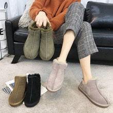 SWYIVY Winter Ankle Boots Wool Fur Woman 2018 Slip Female Snow Boos Warm Shoes Genuine Leather Comfortable Winter Snowboots