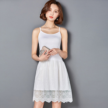 2017 hot Ladies Hollow Out Fit & Flare Lace Cami Dress Plain Spaghetti Strap Sleeveless o Neck Midi A Line Dress cotton  Lace