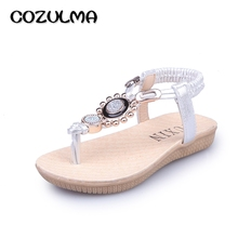 COZULMA Summer Shoes Girls Sandals Summer Kids Sandals Child Rhinestone Princess Dress Shoes Girls Crystal Flip Flops