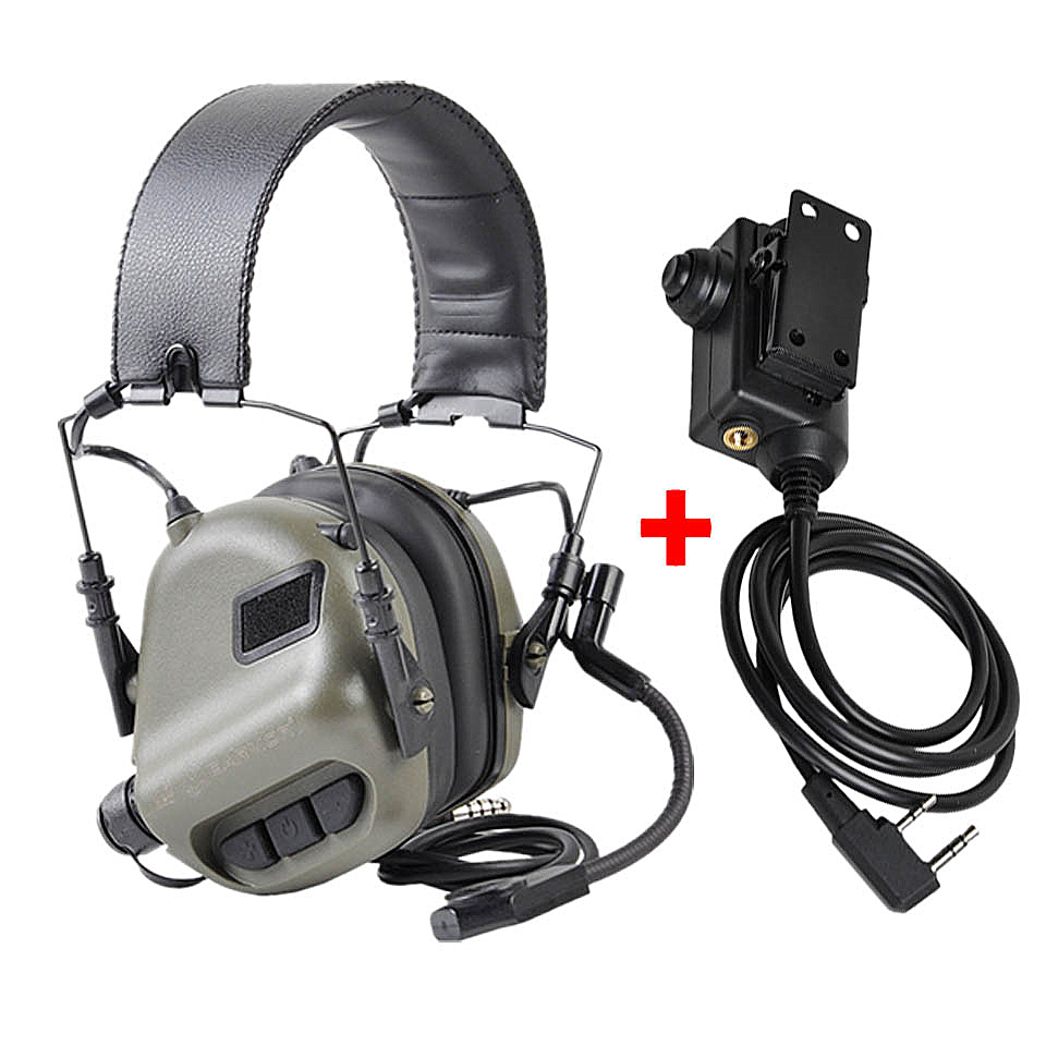 EARMOR Tactical Headset & PTT Set for Noise Canceling Headphones Military Aviation Communication Softair Earphones Shooting title=