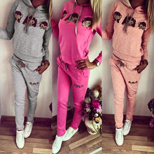 Warm cartoon monkey female casual long-sleeved hooded track suit sportswear