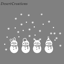 2017 Christmas Snowman Wall Stickers Xmas Frozen Snow Flakes Wall Decor Wall PVC Stickers Christmas Design Decal