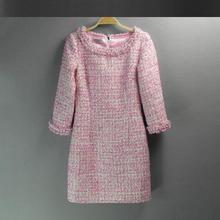 Pink sequin tweed dress 2017 Spring / autumn / Winter women's new Slim sleeve dress ladies hand-beaded dress