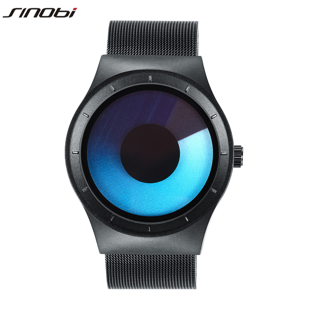 2017 New Fashion SINOBI Mens Watches Cool Steel Strap Northern Lights Simple Sports Quartz Celeste Watches Black Silver<br><br>Aliexpress