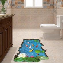 Fishes Water Pool Through The Floor Sticker Ome Decal Pastoral Mural Wall Art Pastoral Poster Bathroom 3D Floor Stickers