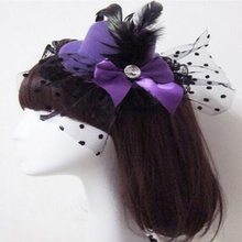 1 pcs Lovely Bow Women Hair Clips Lace Feather Mini Top Hat Fascinator Fancy Party Cap New
