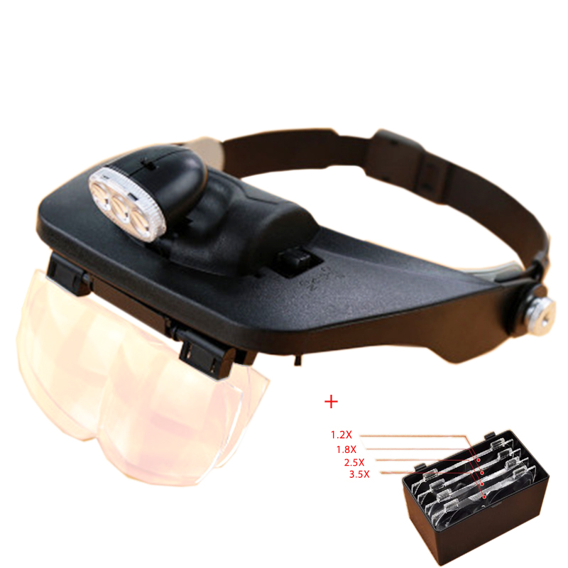 EYESHOT 1.2X-3.5X Hands free magnifier helmet magnifying glass loupe with lamp 4 Lens for watch jewelry repair<br>