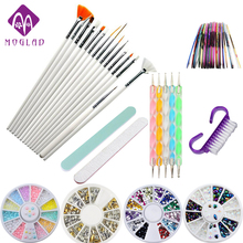 Moglad 10 items/lot nail art tool set professional nail brushes painting tool DIY nail rhinestone decoration manicure set kit(China)