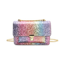 LYDIAN Special Fabric Design Gradient Color Casual Ladies Bag 2017 Summer Fashion Sequins Chain Handbags Shoulder Messenger Bags