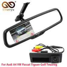 Rearview Vehicle Camera Car Rear Camera For Audi A4 VW Passat Tiguan Golf Touareg With Car Rear View Bracket Mirror Monitor(China)