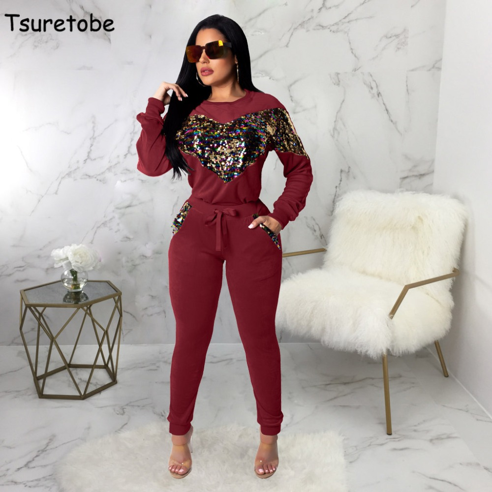 Tsuretobe Velvet Sequined Two Piece Set Women  Bodycon New Winter Casual Tracksuit Female Pollover Tops And Warm Pants Vestidos