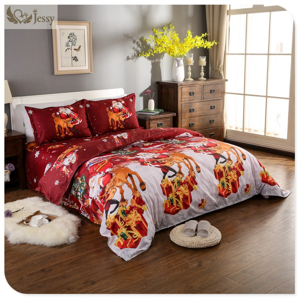 Great For Christmas, Set 4Pcs Christmas Santa Clause, 3D Bedding Set Duvet Cover Set,Sheet, Pillowcase, Sham Covers 20