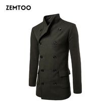 Men's Wool Autumn Winter Coat Men Double Breasted Long Sleeve Lapel Slim Fit Male Fashion Brand Jacket Men 2017 New ZE0422(China)