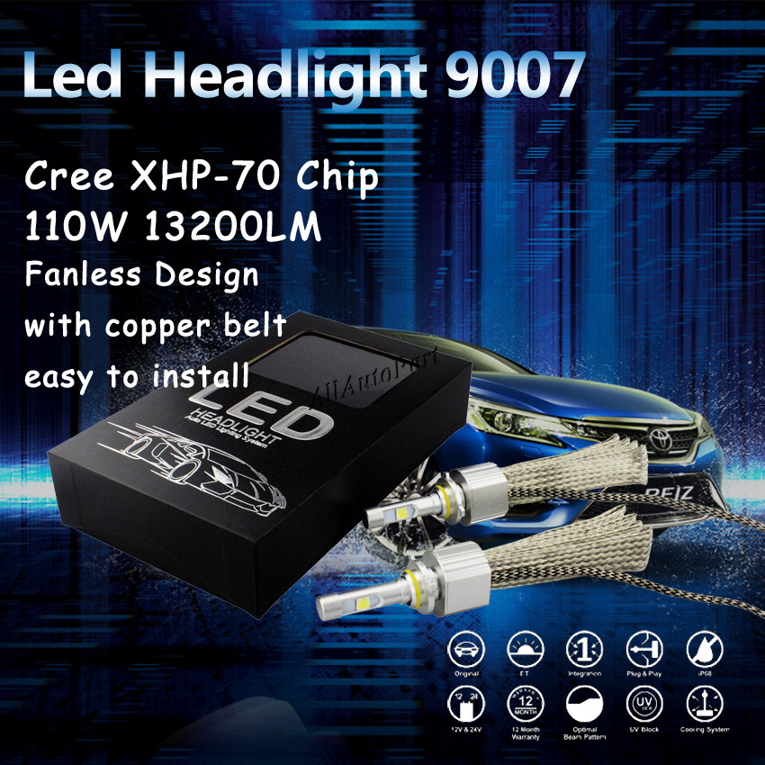 2016 Newest 6600lm 55w 9007 White 6000K Car Fanless LED Headlight Conversion Kit C ree XHP 70 H4 H7 H11 9005 9006 H13 9012 9004<br><br>Aliexpress