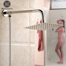"Chrome Brass Wall Mount 10"" Ultrathin Rain Shower Head / Stainless Steel Shower Hose /Shower Arm"